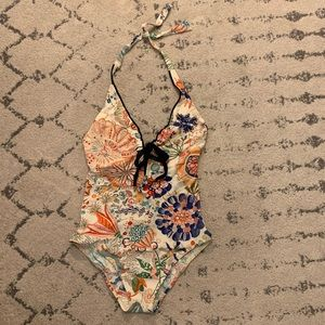 SHAN one piece floral underwire swimsuit